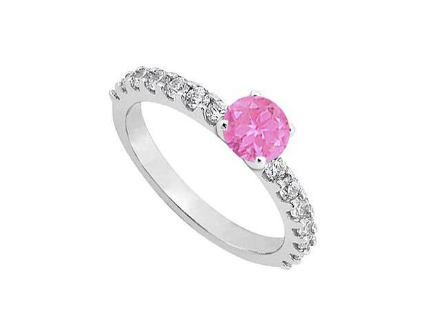 September Birthstone Pink Sapphire with CZ Engagement Rings in Sterling Silver 1.00 CT TGW