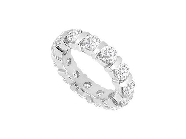 Seven Carat Eternity Band of Brilliant Cut CZ Wedding Bands in 925 Sterling Silver Bar Setting