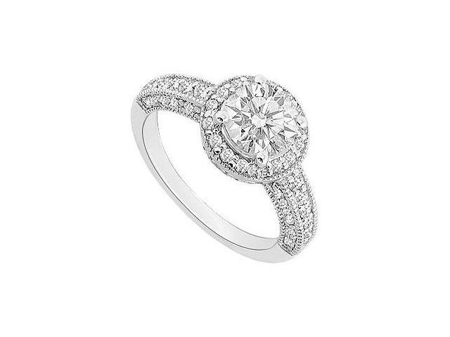 Triple AAA Quality CZ Total Gem Weight of One 1 Carat Halo Engagement Ring in 14K White Gold