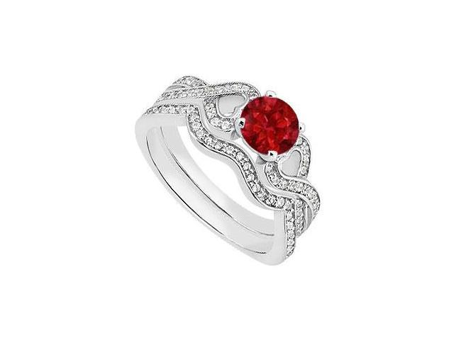Heart Engagement Ring of Natural Ruby and Diamond Bands in 14K White Gold of 1.25 Carat TGW
