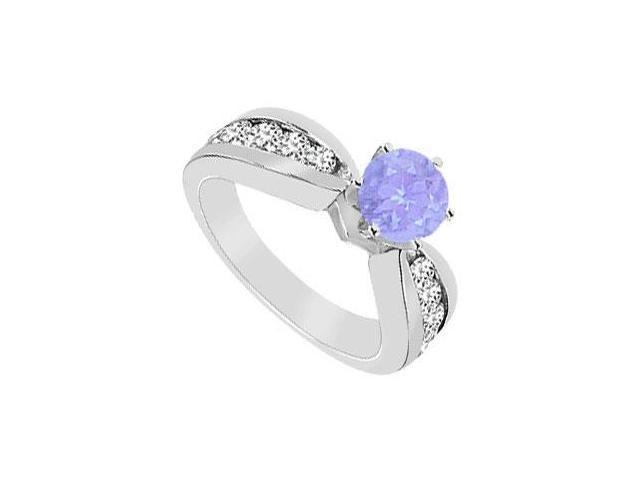 Created Tanzanite and Cubic Zirconia Engagement Ring .925 Sterling Silver 1.75 CT TGW