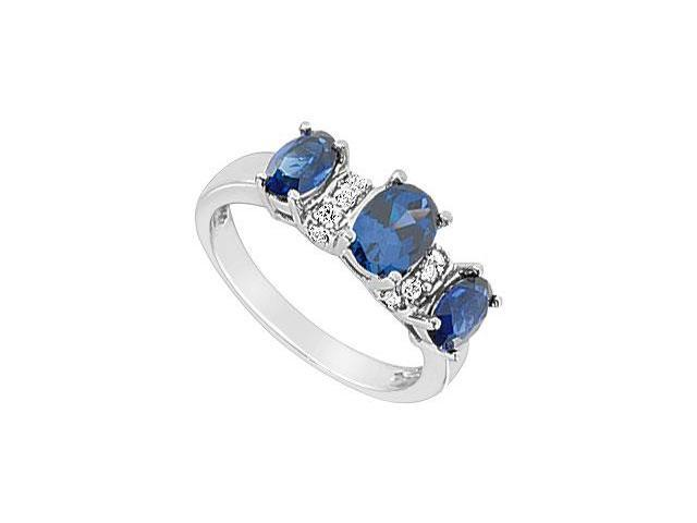 Diffuse Sapphire and Cubic Zirconia Ring 10K White Gold 2.15 Carat Total Gem Weight