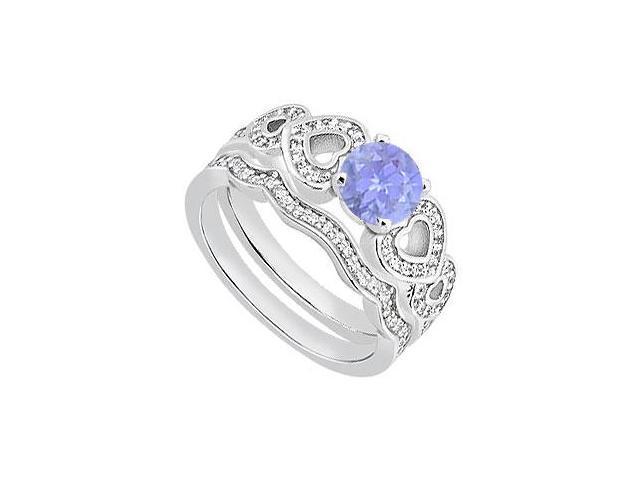 14K White Gold Tanzanite Heart Engagement Ring with Diamond Wedding Band of 1.25 Carat TGW