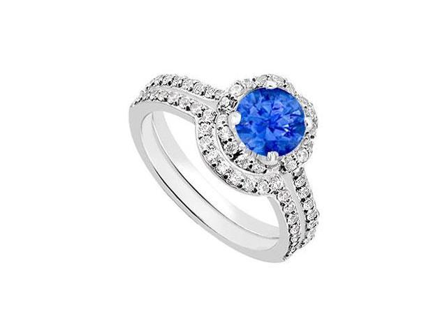 14K White Gold Blue Sapphire  Diamond Engagement Ring with Wedding Band Sets 1.60 CT TGW