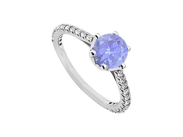 December Birthstone Created Tanzanite  CZ Engagement Rings in Sterling Silver 1.33 CT TGW