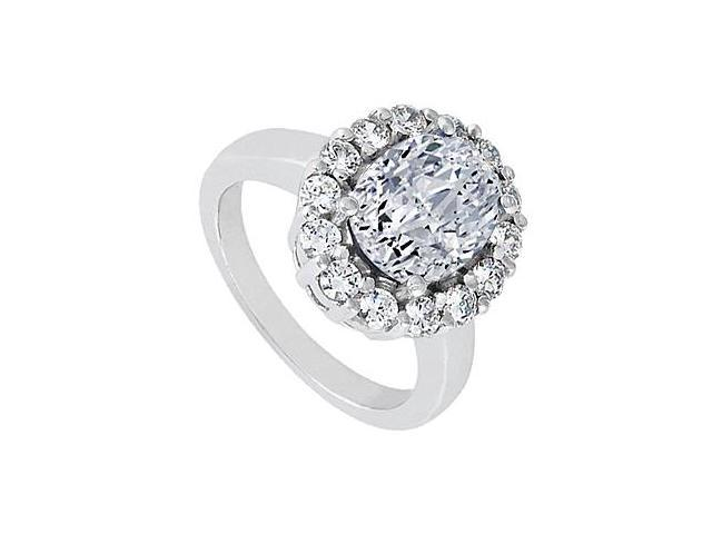14K White Gold Triple AAA Quality Cubic Zirconia Fashion Ring of 3.50 Carat Total Gem weight