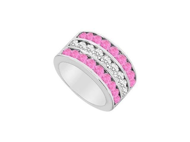 Created Pink Sapphire and Cubic Zirconia Row Ring .925 Sterling Silver 2.50 CT TGW