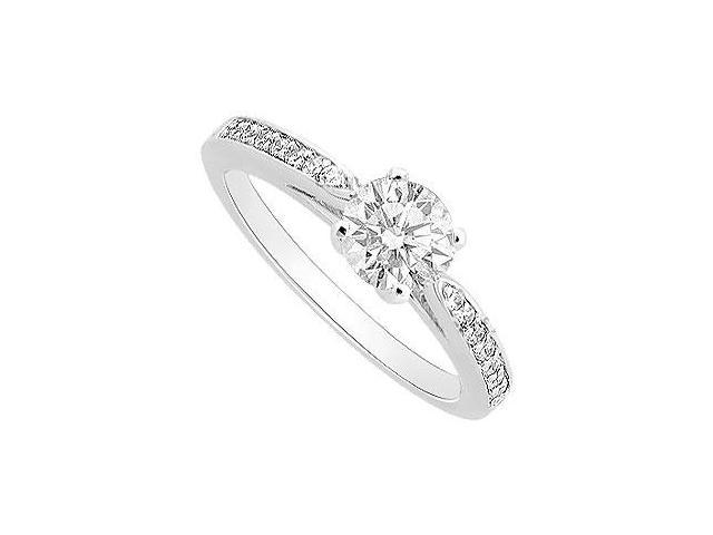 14K White Gold Totaling 1 Carat Engagement Ring of Triple AAA Quality Cubic Zirconia