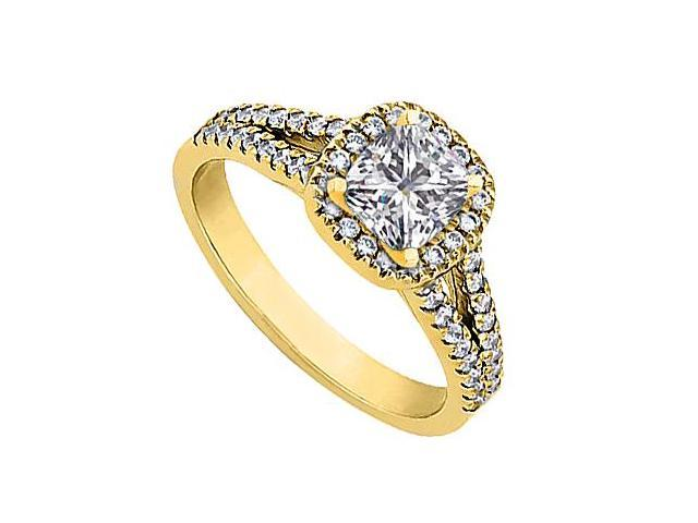 CZ Engagement Ring in 14K Yellow Gold Total Gem Weight of 1 Carat