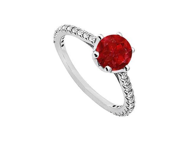 July Birthstone Created Ruby  CZ Engagement Rings in Sterling Silver 1.33 CT TGW
