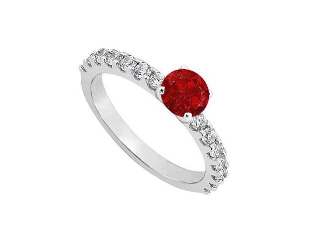 July Birthstone Ruby with CZ Engagement Rings in Sterling Silver in 1.00 CT TGW