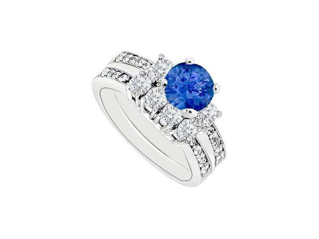14K White Gold Blue Sapphire  Diamond Engagement Ring with Wedding Band Sets 1.50 CT TGW