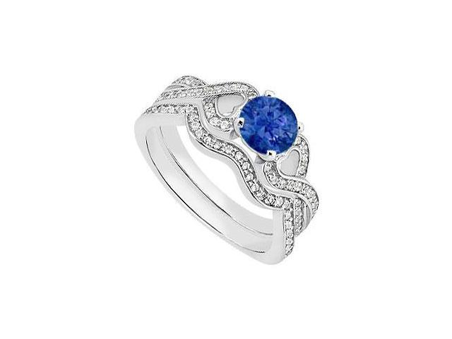Heart in 14K White Gold Blue Sapphire Engagement Ring with Diamond Wedding Bands 1.25 Carat TGW