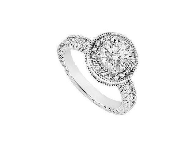 Halo Engagement Ring of Cubic Zirconia 1 Carat Total Gem Weight in 14K White Gold