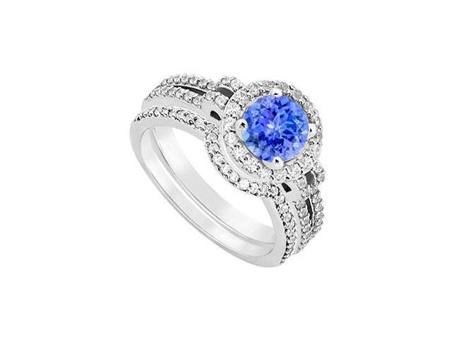 14K White Gold Tanzanite  Diamond Engagement Ring with Wedding Band Sets 1.15 CT TGW