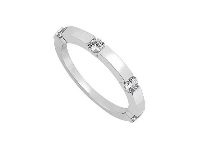 April Birthstone Cubic Zirconia Wedding Band in Sterling Silver 0.40 CT TGW
