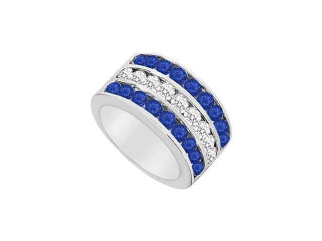 Diffuse Sapphire and Cubic Zirconia Row Ring 925 Sterling Silver 2.50 CT TGW