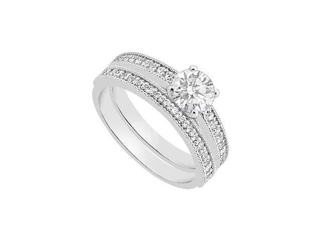Diamond Engagement Ring with Diamond Wedding Ring in 14K White Gold 0.90 Carat Diamonds