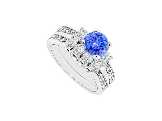 14K White Gold Tanzanite  Diamond Engagement Ring with Wedding Band Sets 1.50 CT TGW