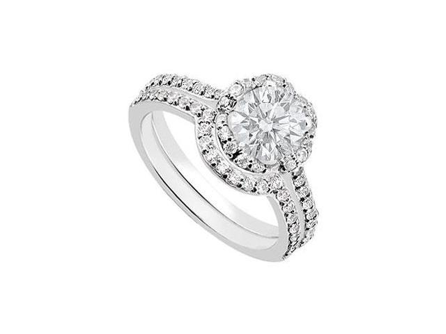 14K White Gold Diamond Engagement Ring with Wedding Band Sets 1.10 CT TDW