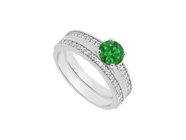 Natural Emerald and Diamond Engagement Ring with Diamond Bands Set 1.15 Carat TGW