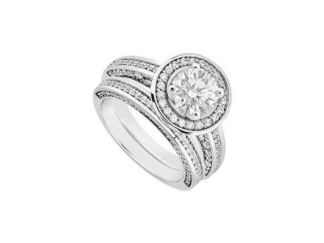 14K White Gold Diamond Engagement Ring with Wedding Band Sets 1.55 CT TDW
