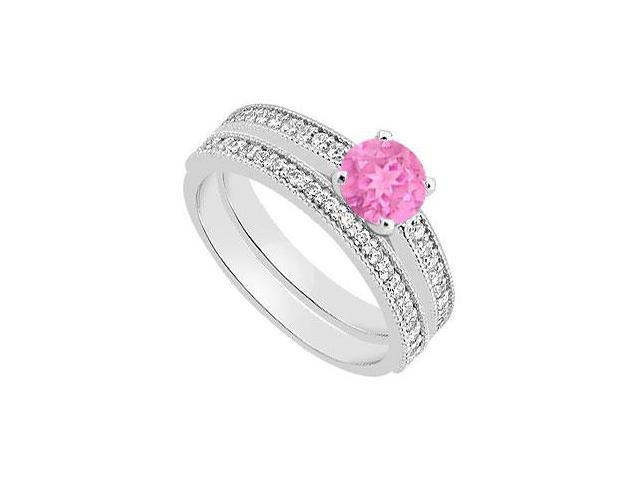 Pink Sapphire Diamond Engagement Ring with Wedding Ring  in White Gold 14K 1.15 Carat TGW
