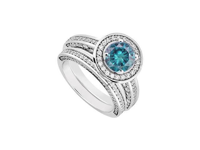 14K White Gold Blue Diamond Engagement Ring with Wedding Band Sets 1.55 CT TDW
