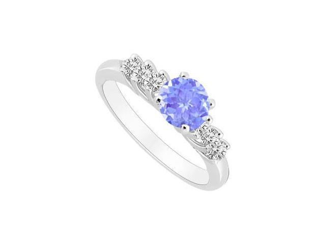 Sterling Silver Created Tanzanite and Cubic Zirconia Engagement Ring 0.50 CT TGW