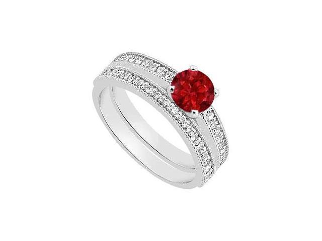 Diamond and Ruby Engagement Ring with Diamond Bands in 14K White Gold 1.15 Carat TGW