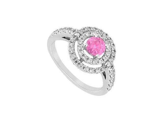Created Pink Sapphire and Cubic Zirconia Ring .925 Sterling Silver 1.75 CT TGW