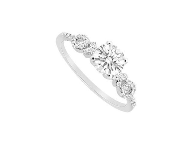 Triple AAA Quality Cubic Zirconia Total Gem Weight of 1 Carat Engagement Ring in 14K White Gold