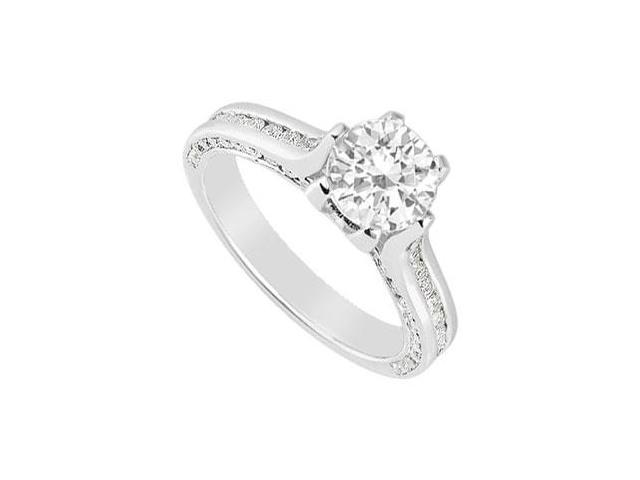 Engagement Ring in 14K White Gold Cubic Zirconia of 1.50 Carat Total Gem Weight