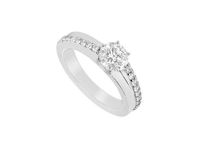 14K White Gold Engagement Ring with CZ of 1 Carat Total Gem Weight
