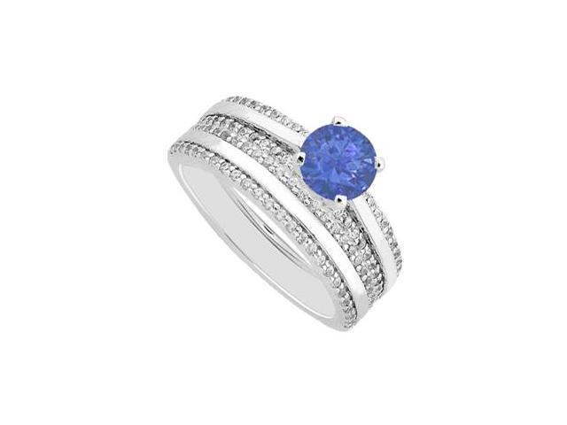 Natural Sapphire and Pave Diamond Engagement Ring with Band Sets in 14K White Gold 1.25 Carat