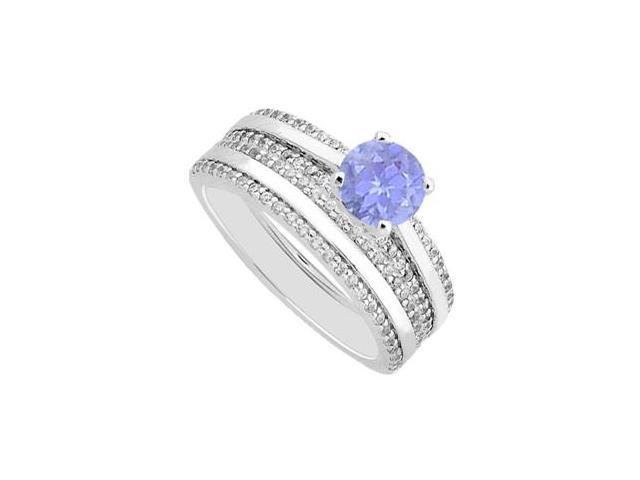 14K White Gold Pave Diamonds and Tanzanite Engagement Ring With Wedding Band Sets of 1.25 Carat