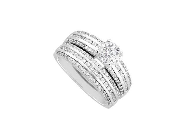 Diamond Engagement Ring and Wedding Band Sets in 14K White Gold 1.25 Carat Diamonds