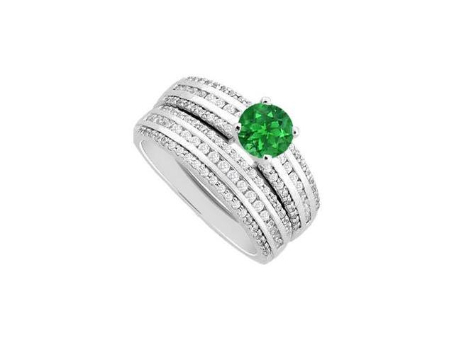 Emerald Engagement Ring and Diamonds channel Set Wedding Band Sets in 14K White Gold 1.50 Carat