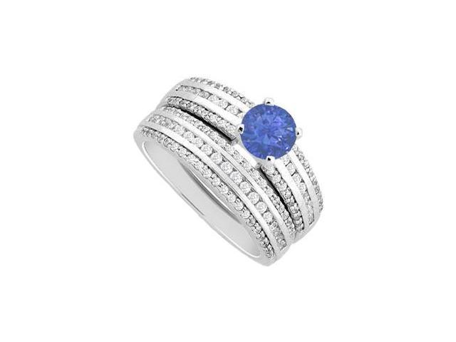 14K White Gold Diamonds and Natural Sapphire Engagement Ring with Wedding Band Sets 1.50 Carat