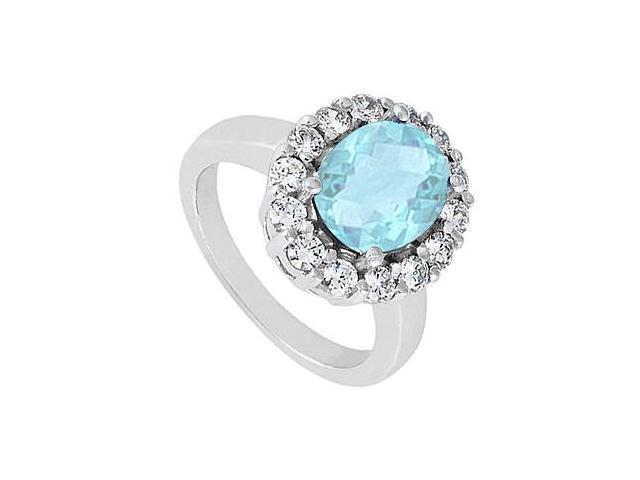 Fashion Oval Aquamarine Ring with Triple AAA Quality CZ in 14K White Gold 3.50 Carat Totaling