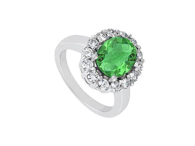 Oval Created Green Emerald and CZ Ring in 14K White Gold 2.50 Carat Total gem Weight
