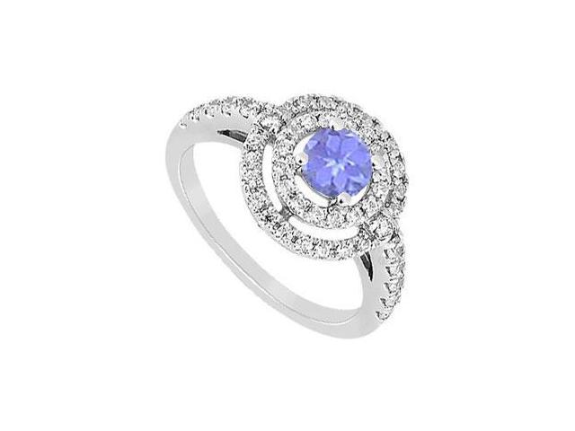 Created Tanzanite and Cubic Zirconia Ring .925 Sterling Silver 1.75 CT TGW