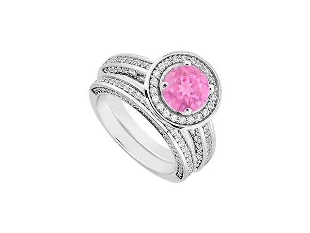 14K White Gold Pink Sapphire  Diamond Engagement Ring with Wedding Band Sets 1.55 CT TGW
