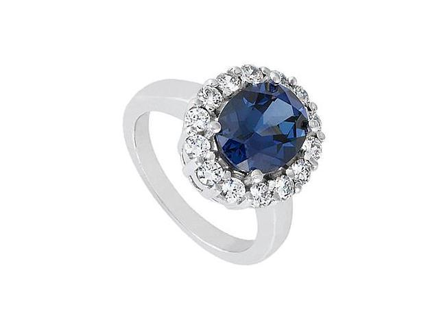 Triple AAA Quality CZ and Created Sapphire Ring in 14K White Gold 3.50 Carat Total Gem Weight