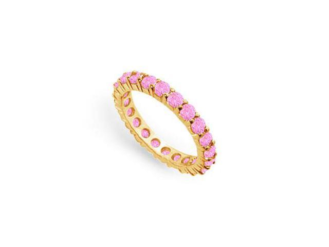 Created Pink Sapphire Eternity Ring Stackable Band 18K Yellow Gold Vermeil. 2 ct.tw