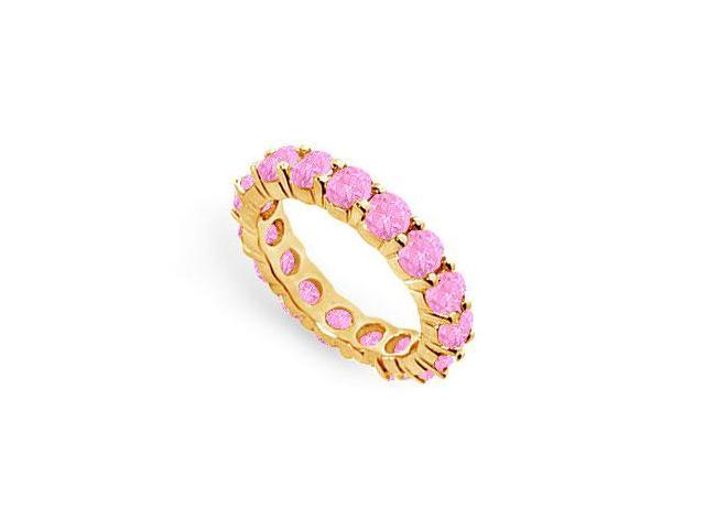 Created Pink Sapphire Eternity Ring Stackable Band 18K Yellow Gold Vermeil. 4 ct.tw