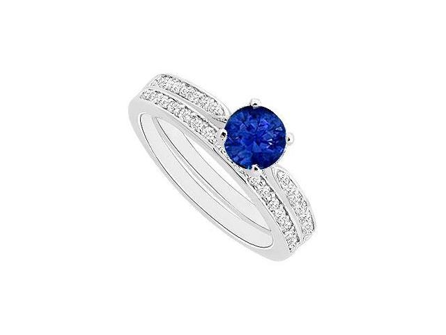 Sapphire and Diamond Engagement Ring with Wedding Band Set  14K White Gold - 0.60 CT TG