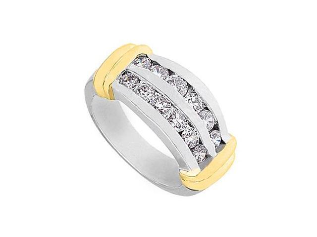 1 Carat CZ Channel Set Fashion Ring in 14K Two Tone White Gold and Yellow Gold