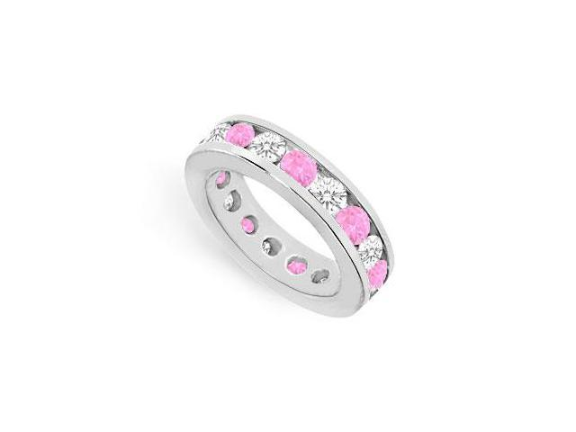 Nine Carat Pink Sapphire Created and CZ Eternity Ring in 925 Sterling Silver Channel Set