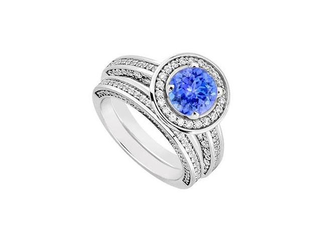 14K White Gold Tanzanite  Diamond Engagement Ring with Wedding Band Sets 1.55 CT TGW
